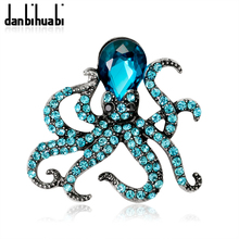 Danbihuabi Enamel Full Crystal Octopus Brooches For Women Silver-Color Rhinestone Corsages Men Suit Accessories Pins