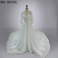 Real Model 2016 Wedding Gown Sleeved Vestidos Royal Train Luxury Shinny Beading Empire Long Sleeves Wedding