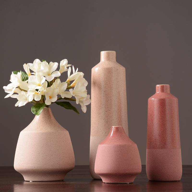 Nordic Pink Ceramic Vase Dried Flower Vase Crafts Furnishings Vases For Centerpieces For Weddings Home Decoration Accessories