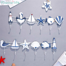 Creative Mediterranean Style Clothes And Hats Hook Wooden Six Hooks Key Holder Wall Ocean Decoration Living Room Bedroom Stuff
