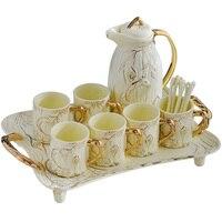 Европа Винтаж слоновой кости Китай Кофе комплект Британский фарфор Чай комплект Керамика банк сливочник сахарница Чай время Чай горшок Коф