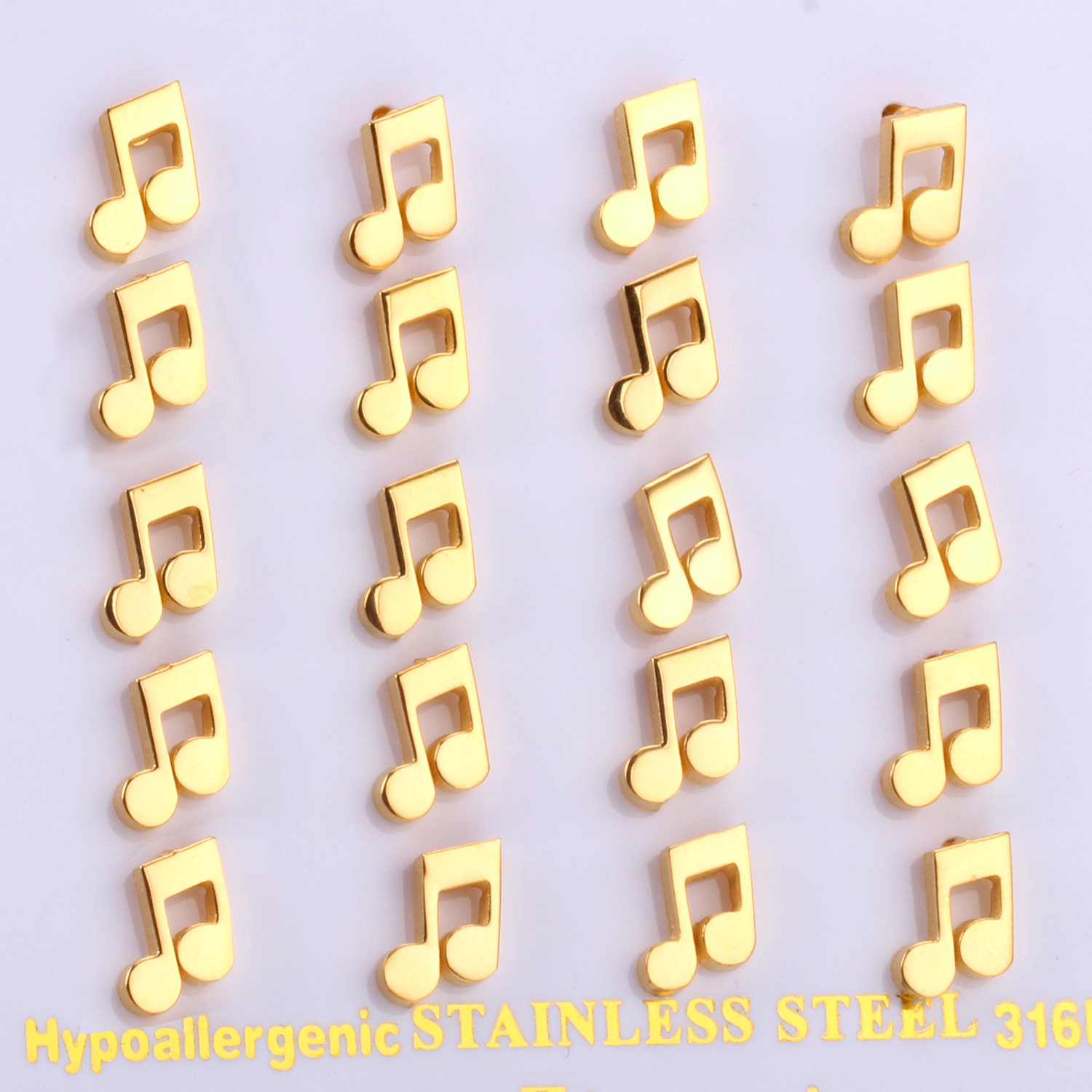 Gold Color Funny Music Symble Stud Earrings For Men And Women