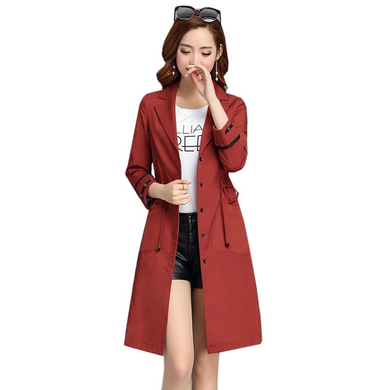 Tranchée Qualité Plus Noir long Outerwears Pardessus rose Printemps Slim Haute Femmes Ym779 Réglable Manteau Taille Moyen Nouveau kaki rouge Femelle 5w8xaOq700