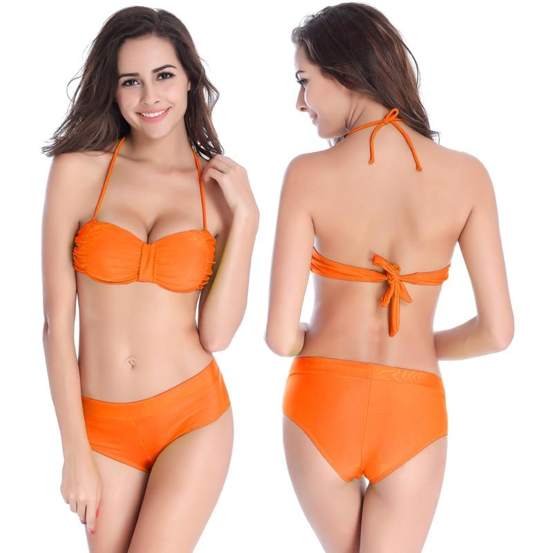 SWIMMART Original Design Scrunch felső, teljesen bélelt 2PCS női fürdőruha, eltávolítható nyak-kötőfedő Push Up 2019 Szexuális lányok Fotók Bikini