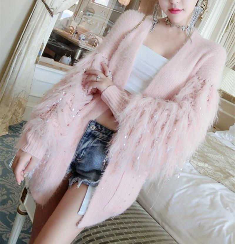 Autumn tassel Sleeve Sweater Cardigans  Women long sleeve Pink knitted