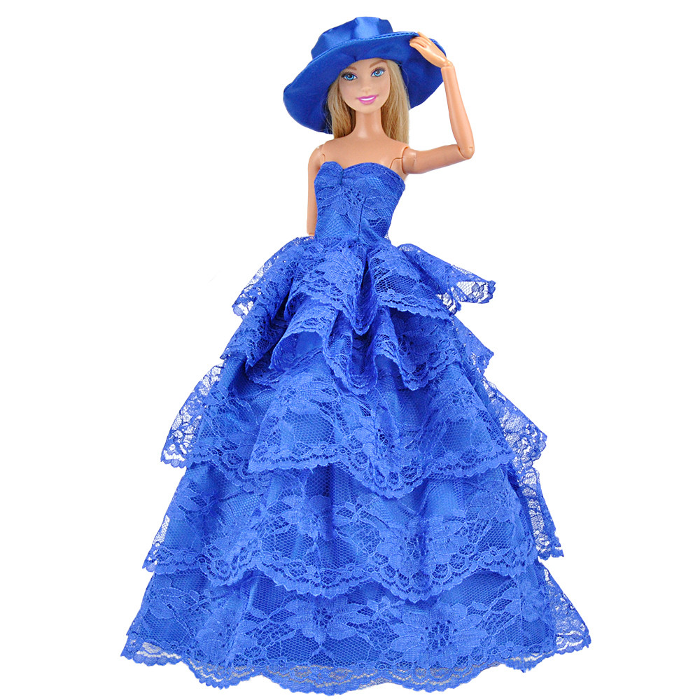E-TING 1/6 Fashion Doll Clothes Western-style Dress Lace Wedding Evening Party Girls Suit Hat Veil Accessories For Barbie Doll