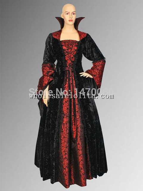c0ceb41adbc Robe élégante de Vampire Dracula d inspiration gothique noire et rouge  médiévale faite à la