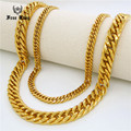 6mm/10mm Width Customized Length Curb Link Chain Necklace Men's Stainless Steel Gold 4 Cuts Cuban Link HIPHOP Necklace