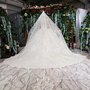 Image 2 - HTL503 יוקרה נסיכת חתונת שמלות עם רכבת o צוואר ארוך שרוול פרחי שמלות כלה עם רעלה גותי חתונה שמלה