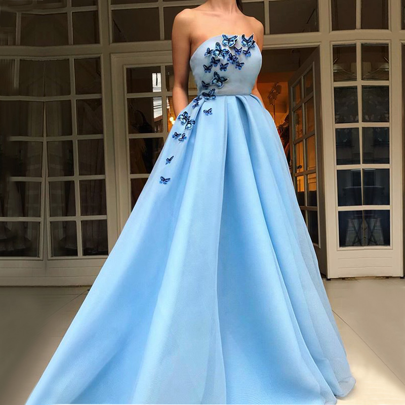 DZW488 Long Women   Evening     Dresses   2019 Boat Neck Butterfly Light Blue Formal   Evening   Gowns robe de soiree