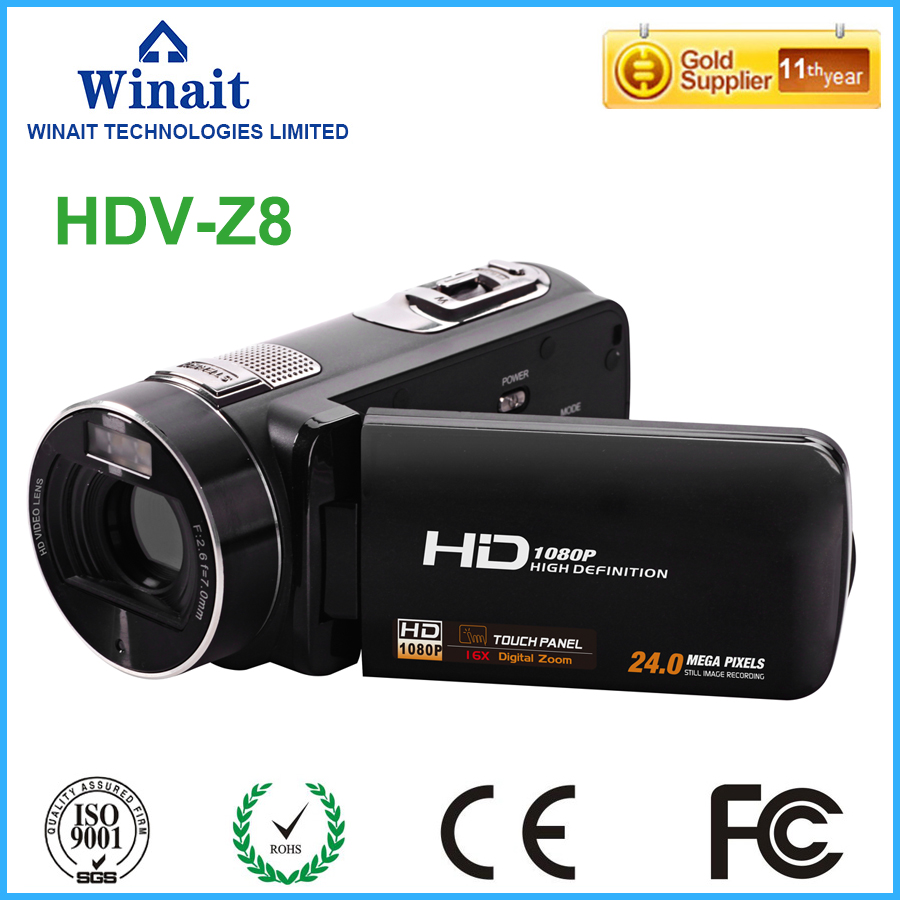 Freeshipping Professional Video Camera Digital Camcorder HDV-Z8 3.0 Touch Display 24MP 1080P HD Face Detection & Smile Capture winait electronic image stabilization hdv z8 digital video camera with recording function touch screen