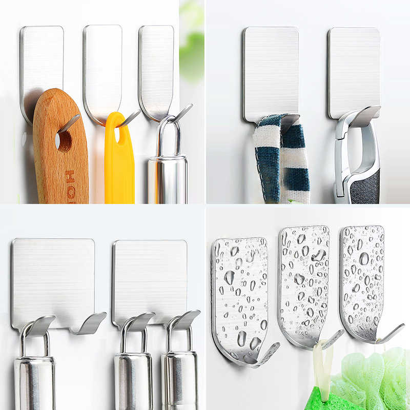 concise Wall Hooks Towel Keys Holder Racks Robe Hanging Wall Mount Storage Hooks for Kitchen Bathroom Self-Adhesive Wall Hanger