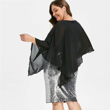 Ladies large dresses Fashion Women Plus Size V-Neck Overlay Sequin Bodycon Asymmetric Party Dress chiffon