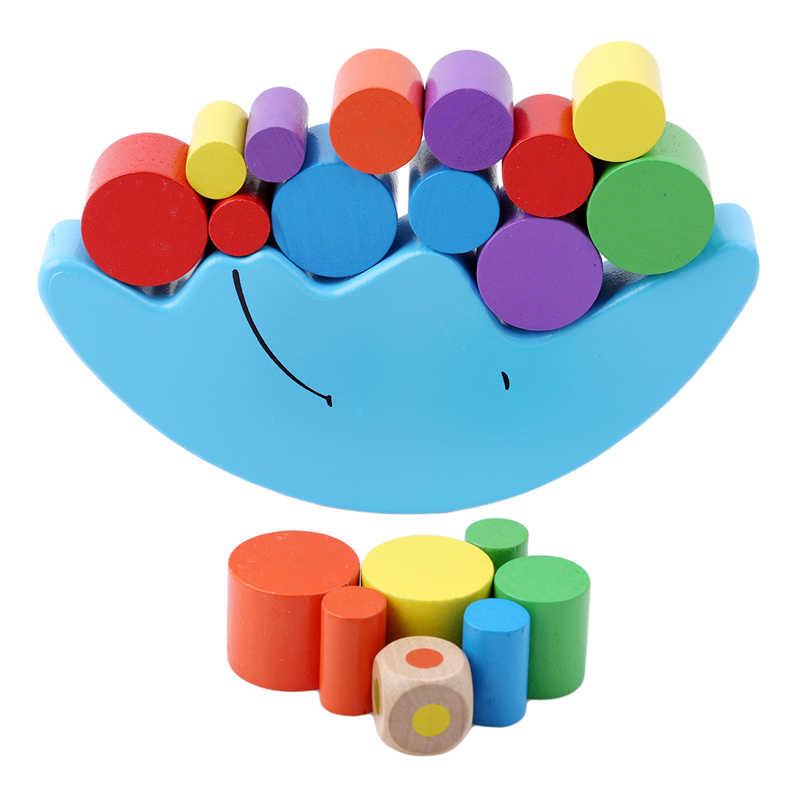 赤ちゃんの早期学習おもちゃ木材ムーンバランス知育玩具ビルディングブロック子供子供やじろべえ