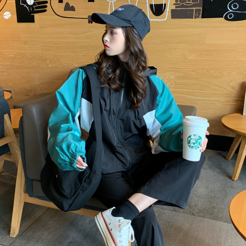 #5625 Spliced Color Plus Size Jacket With Hooded Loose Harajuku Sunscreen Coat Women Hip Hop Windbreaker Thin Spring Summer
