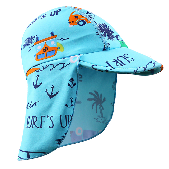 BAOHULU 2018 Summer Cartoon Baby Kids Swimming Cap Sun Protection Beach Sun  Hats Waterproof for Boys c1a0c0abeaf