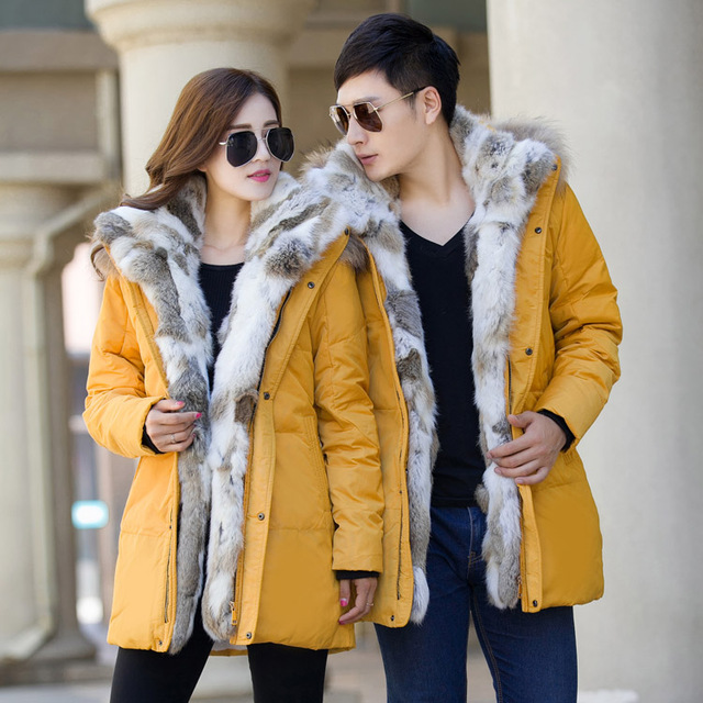 new Men's and women's down jacket high quality thick warm Fur ...