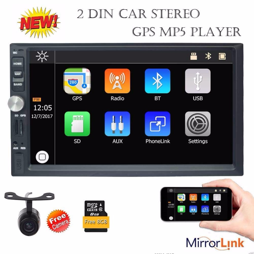 Eincar 7&#8243; Touch Screen 2Din Car Stereo <font><b>Bluetooth</b></font> GPS Navigation MP5 Player Radio Support <font><b>USB</b></font> SD 1080P Video Play <font><b>AUX</b></font> FM Camera