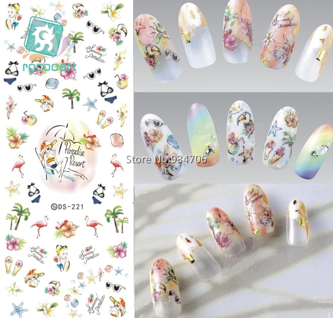 Rocooart DS221 DIY Nail Design Water Transfer Nails Art Sticker paradise Vacation Nail Wraps Sticker Watermark Fingernails Decal ds336 new design water transfer nails art sticker harajuku elements blue red shrimp shell nail wraps sticker manicura decal
