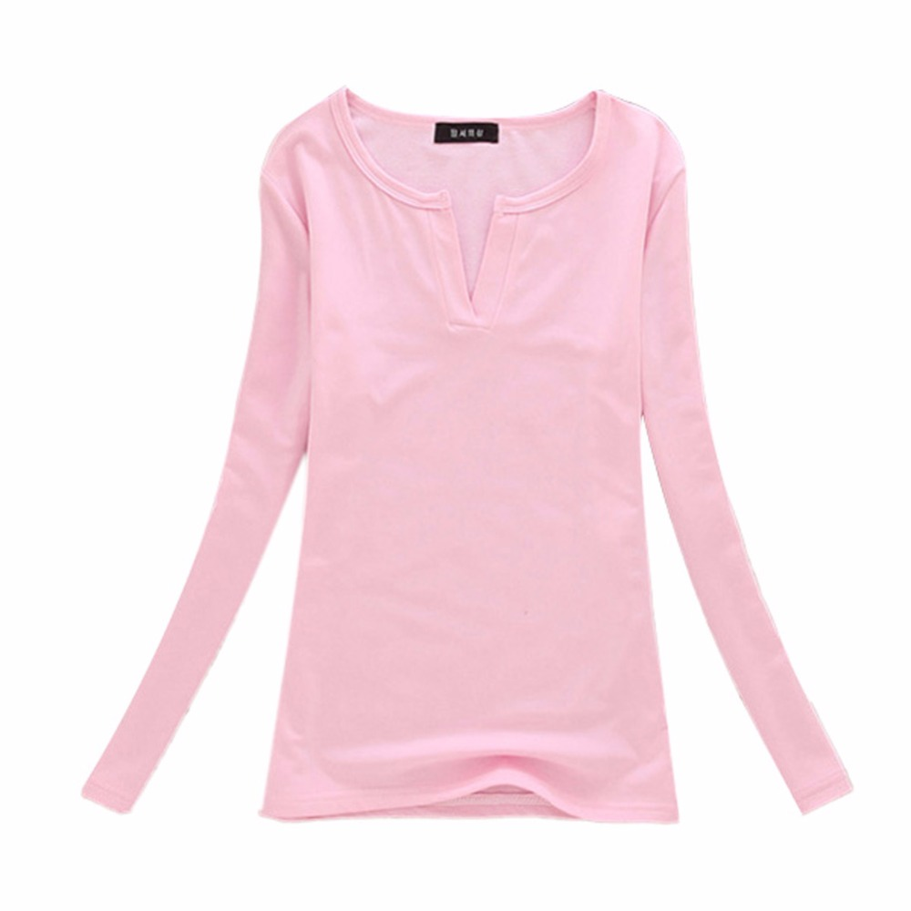 Chic Autumn Women Pure Color V Neck Basic Tee Stretch Slim