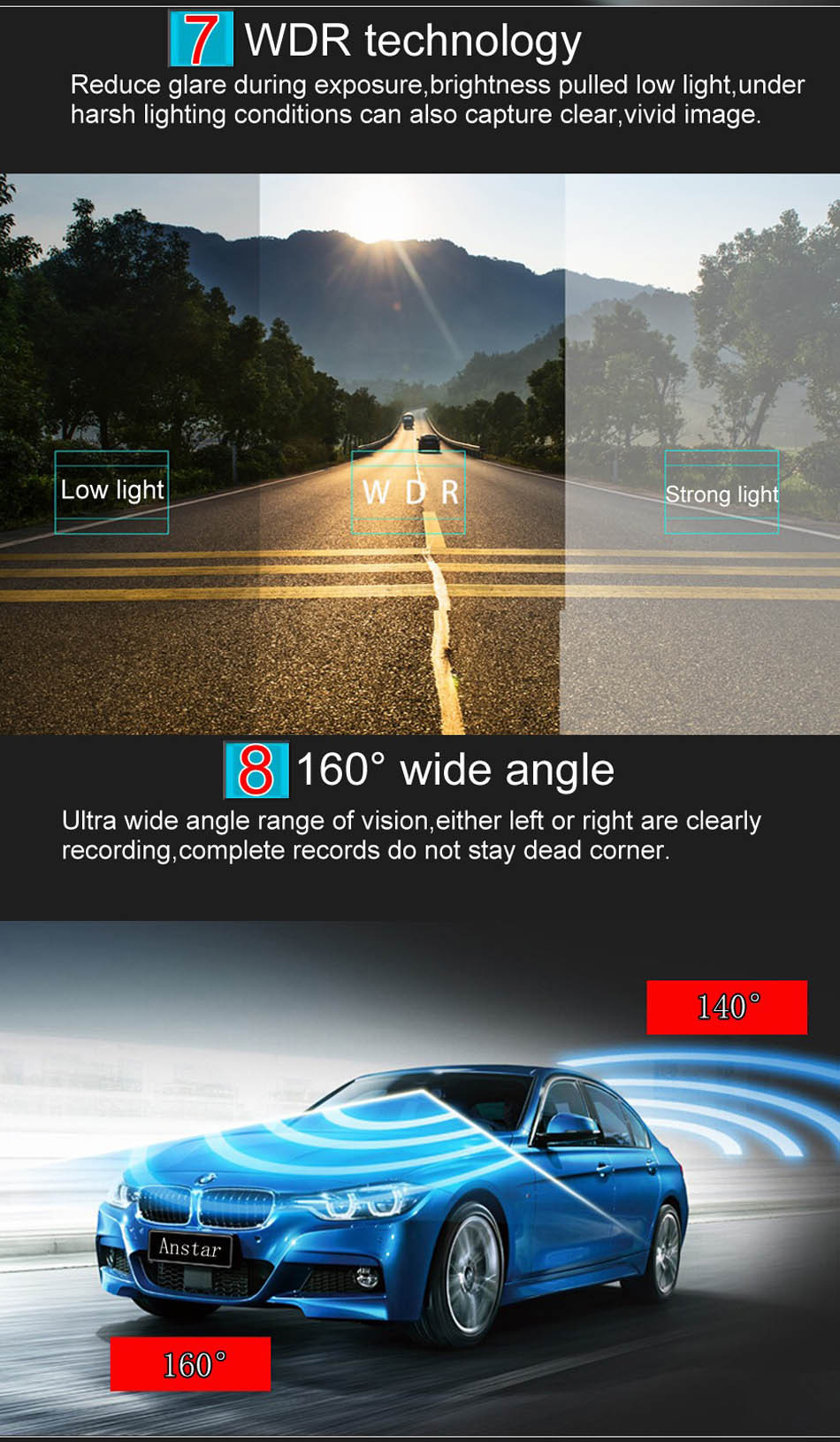 Mini Car DVR H801B With Rear View Camera Dual Lens Dash Cam 4 Inch Full HD 1080P+720P WDR Video Recorder Portable Camcorders-9