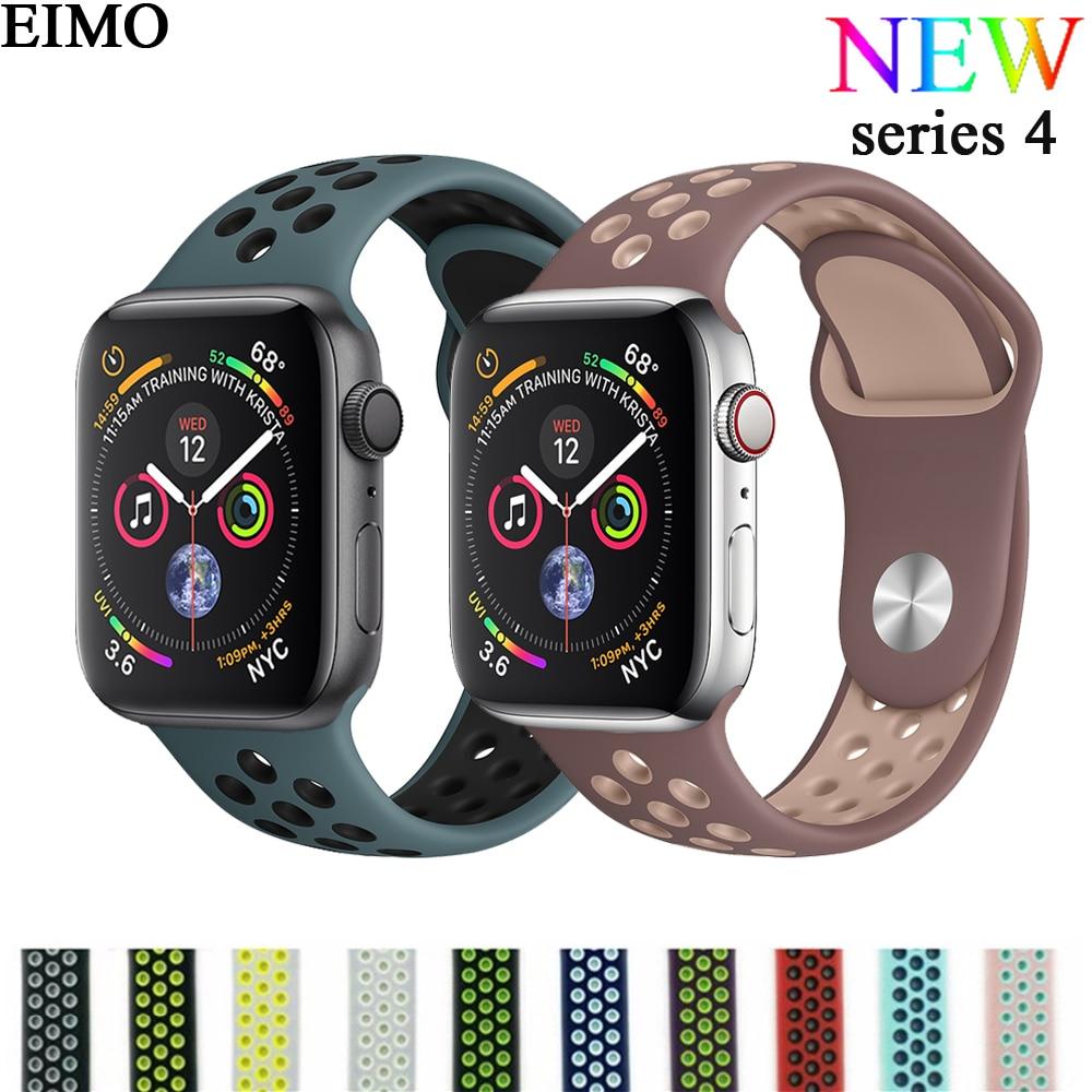 2593e62ff7b EIMO Esporte Banda Strap para apple watch 4 iwatch 4 44mm 40mm Nike  Pulseiras De Silicone