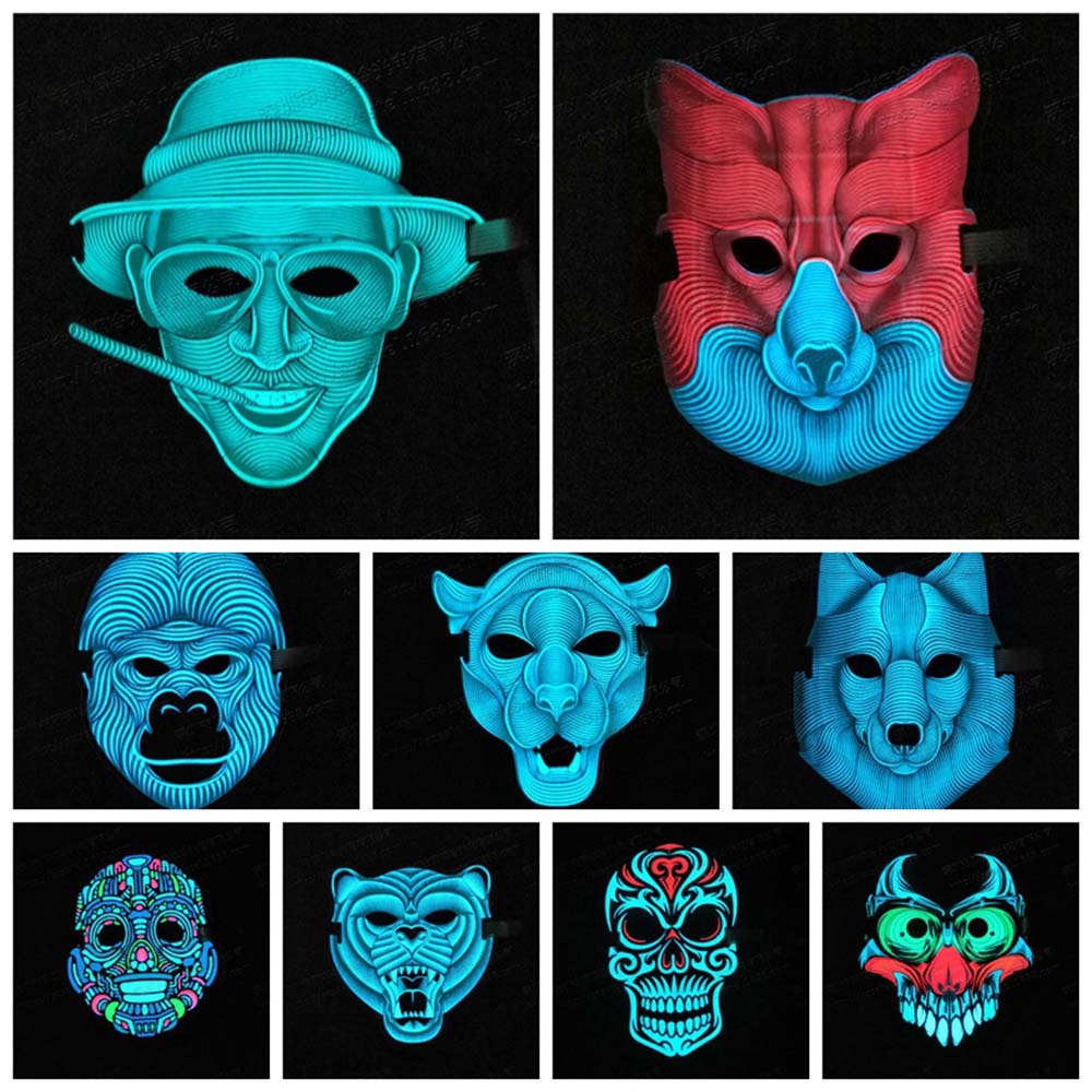 Night Skull LED Luminous Flashing Face Mask Flashing Luminous Scary Costumes for Halloween Party Dance Halloween Cosplay