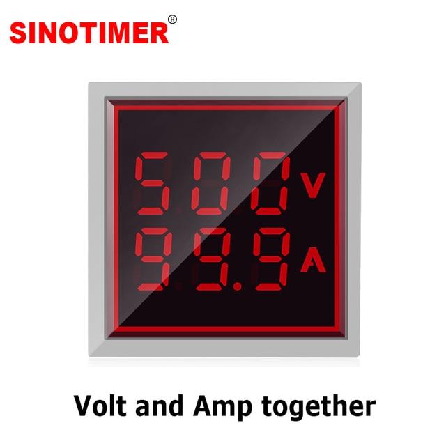 22mm Quadrado Redondo LED Indicador de Luzes de Sinalização Digital Voltímetro Amperímetro Volt Voltage Current Meter Tester AC 60-500 V 6-100A