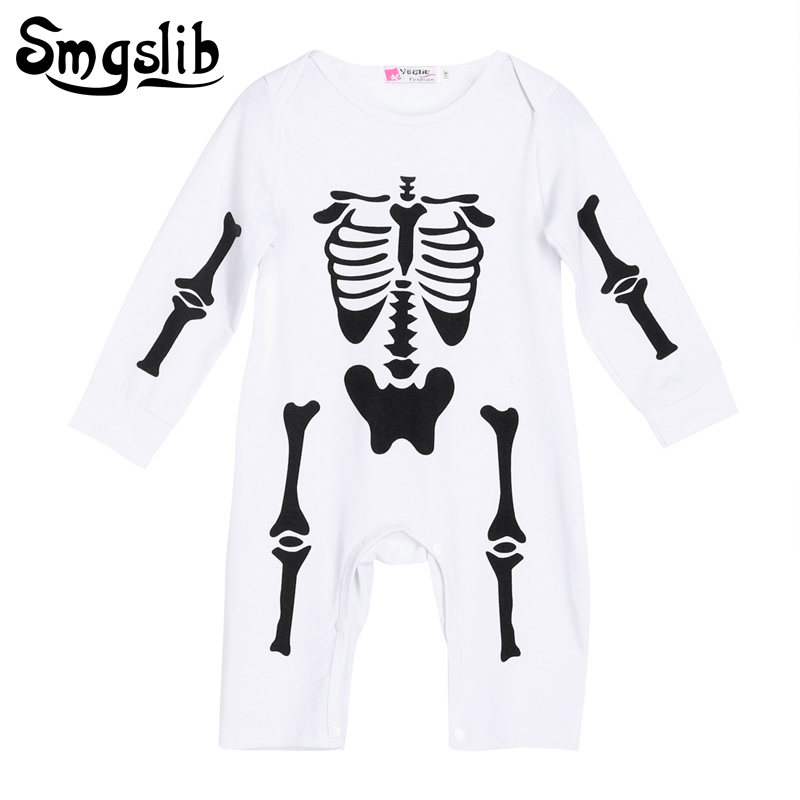 Smgslib Baby rompers skull bone infant one piece clothes halloween long-sleeve toddler costume baby girl summer romper jumpsuit