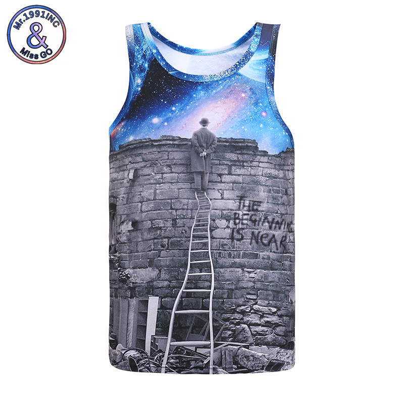 Mr.1991IN Hot Sale Men/Women Vest 3D Print Cross-border Mail To View The Blue Sky Thinking Pattern Vest Summer Jersey Tank Tops ...