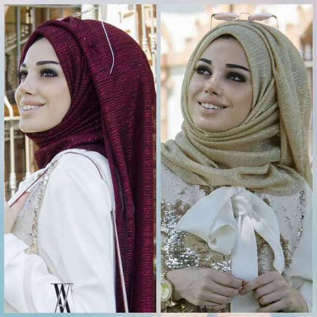 Fashion Muslim Hijab Scarf Female Glitter Lurex Long Shawl Dubai Arab Lady Pashmina Islamic Hijab Head Scarf 180x75cm