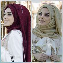 Moda muçulmano hijab cachecol feminino brilho lurex longo xale dubai árabe senhora pashmina islâmico hijab lenço de cabeça 180x75cm