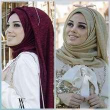 Mode Moslim Hijab Sjaal Vrouwelijke Glitter Lurex Lange Shawl Dubai Arabische Lady Pashmina Islamitische Hijab Hoofddoek 180x75cm