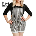 Kissmilk 2017 Women Plus Size Single Button Casual Striped  3XL 4XL 5XL 6XL Big Large Size Suspender Hot Shorts