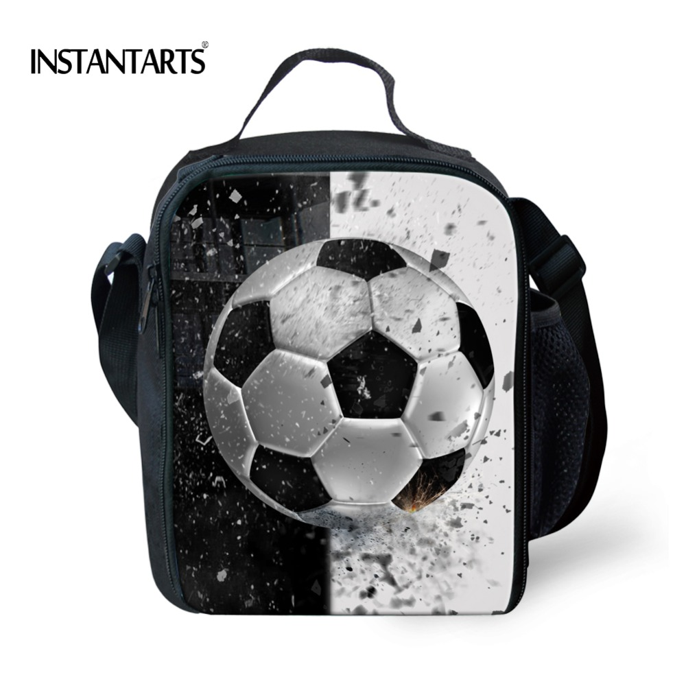 INSTANTARTS 3D Cool Ball Printing Picnic Bags for Children School Students Thermal Lunch Bag Insulated Kids Portable Lunch Box