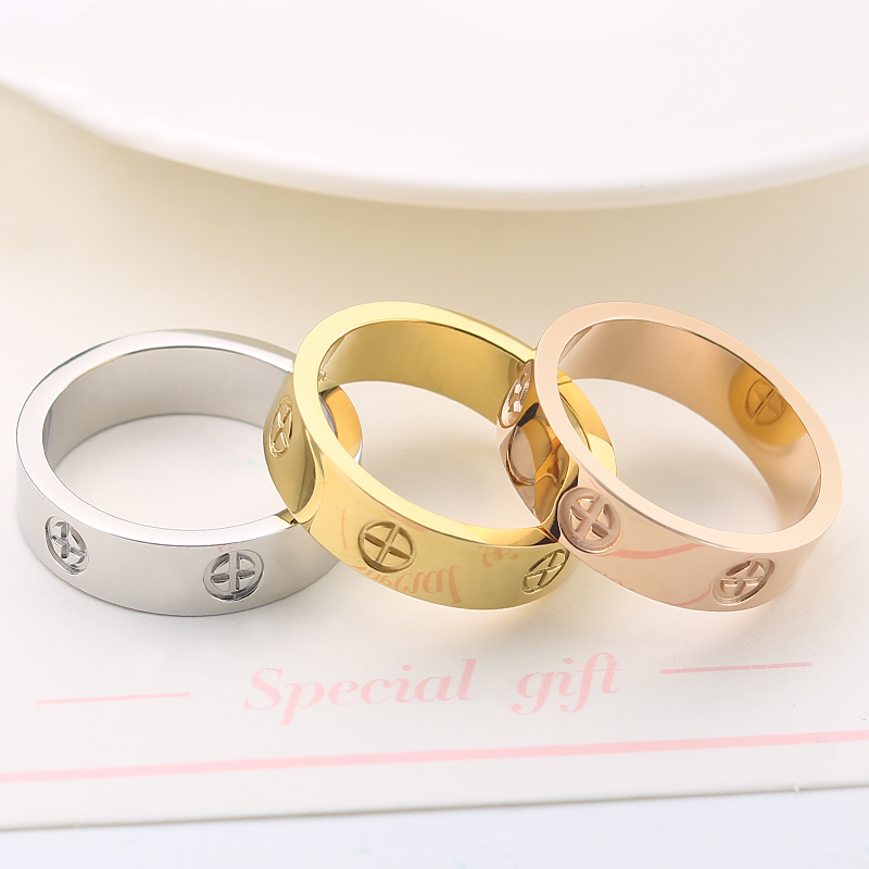 Innopes fashion Philip's head screw zircon ring simple stainless steel men's ring rose gold women's ring hot sale