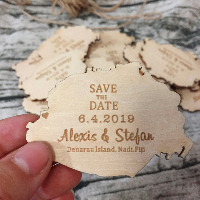 Country Map Save The Date Magnet Custom Engraved Wood