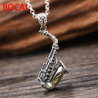 S925 sterling silver jewelry silver necklace pendant retro Rawlins Sax instruments small pendant