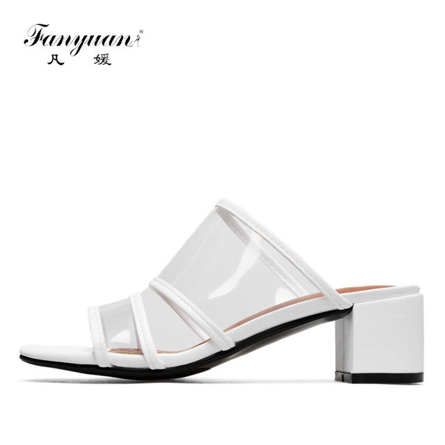 a595e1a1e38583 Fanyuan PVC Women Transparent Slippers Genuine Leather Chunky Heel Summer  Slides Ladies Peep Toe Outside Shoes Big Size 34-43