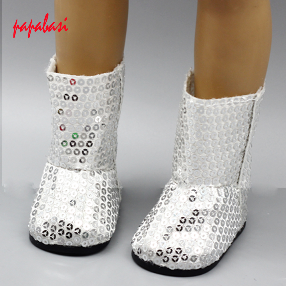 1pair Doll Fashion Silver Sequins Rubber Boots Shoes for 18/inch American Girl Doll Birthday Gift Doll Clothes Accessory