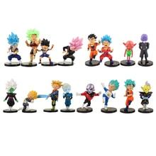 16 sztuk/partia Dragon Ball Goku Gohan Vegeta pnie czarny Goku Zamasu Broli Jiren Hit Cabba Grand kapłan Kale rysunek zabawki lalki