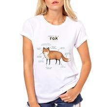 Fox/Dachshund Anatomy Fashion design women funny t-shirt cartoon Pug And fox printed lady cool tops short sleeve casual slim tee