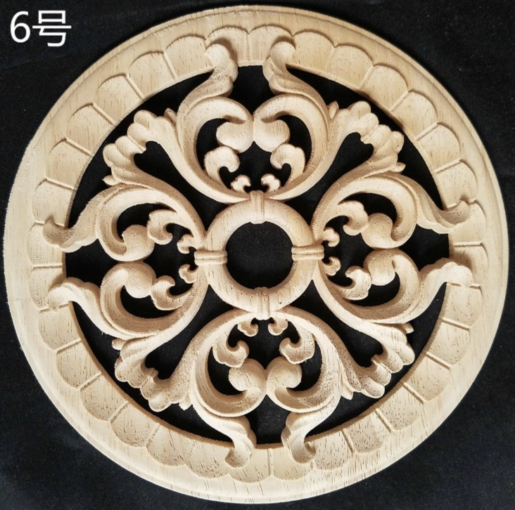 2pcs lot Diameter 200mm thickness 8mm Wood carved circular decals Applique home decorative in Furniture Accessories from Furniture