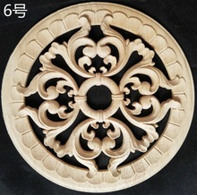 2pcs/lot  Diameter:200mm. thickness:8mm Wood carved circular decals Applique home decorative