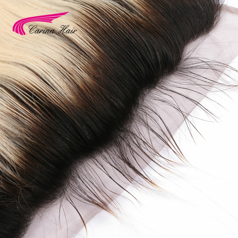 Carina Hair 1b/613 13*4 Lace Frontal Closure Black Roots Bleached Knots Natural Hairline Brazilian Remy Human Straight Hair-in Closures from Hair Extensions & Wigs    3