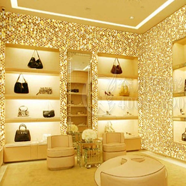 Laser Gold Glitter Wallpaper Chinese Style Wall Paper Clothes Shop PU Backside Coverings 5m White