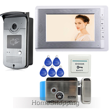 Free Shipping New Apartment 7″ Color Video Intercom Door Phone System + RFID Access Camera + Electronic Control Lock In Stock