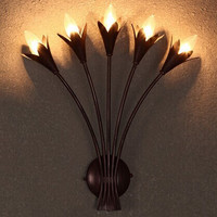 American Retro Creative Romantic Pastoral Background Wall Lamp With 5 Lights For Living Room Bar Engineering