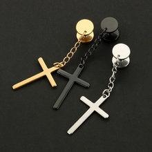 ad14fcd460d5 1 par de moda Cruz religiosa pendientes tapones de acero de titanio de  plata oro negro pendientes de las mujeres de los hombres .