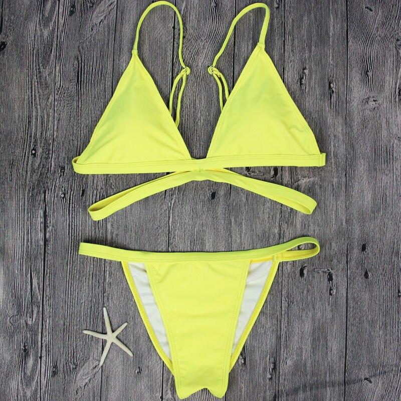 2017 New Yellow Color Bandage Bikini Set Swimsuit BathingSuit Biquni